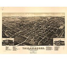 Vintage Pictorial Map of Tallahassee FL (1885) Photographic Print