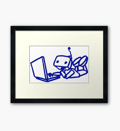 Robot using laptop Framed Print