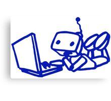 Robot using laptop Canvas Print