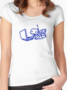 Robot using laptop Women's Fitted Scoop T-Shirt