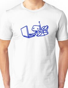 Robot using laptop Unisex T-Shirt