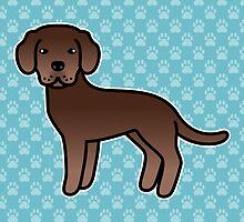 Chocolate Labrador Retriever Cartoon Dog by destei