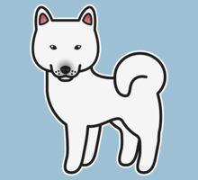 White Shiba Inu Dog Cartoon by destei