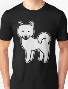 White Shiba Inu Dog Cartoon T-Shirt