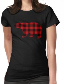 Country Christmas Cottage Primitive lumberjack Buffalo Plaid Bear Womens Fitted T-Shirt