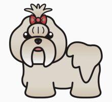 Cream Shih Tzu Cartoon Dog Kids Clothes
