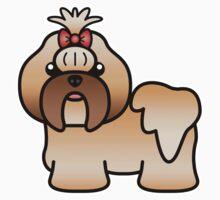 Gold Shih Tzu Cartoon Dog Kids Clothes