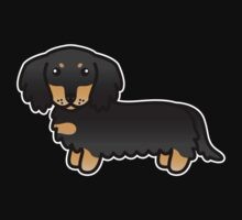 Black And Tan Long Coat Dachshund Cartoon Dog by destei