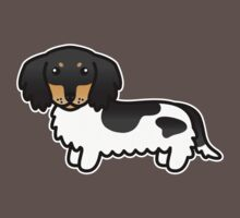 Black And Tan Piebald Long Coat Dachshund Cartoon Dog Kids Clothes