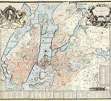Vintage Map of Stockholm (1733) by BravuraMedia