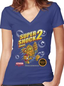 Super Shock Bros 2 Women's Fitted V-Neck T-Shirt
