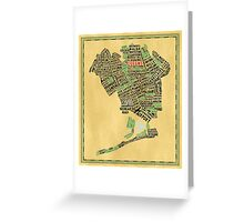 Queens New York Map Typography Greeting Card