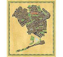 Queens New York Map Typography Photographic Print