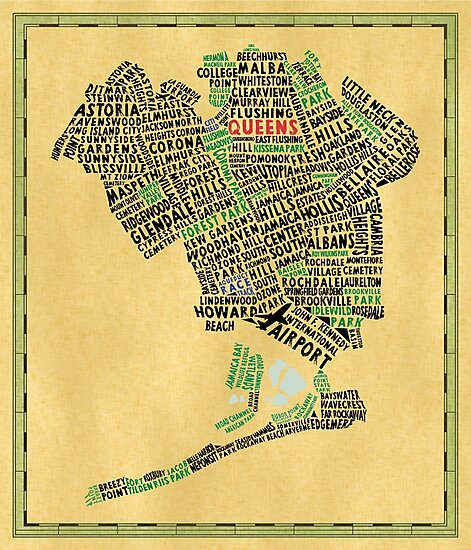 Queens New York Map Typography by icoNYC