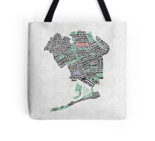 Queens New York Map Typography Tote Bag