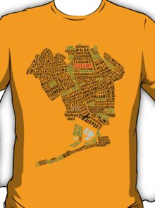 Queens New York Map Typography T-Shirt