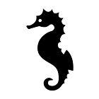 Black Seahorse Silhouette On White by destei