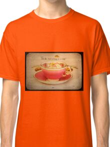 'Tea; A hug in cup' typography on vintage tea cup and saucer photograph Classic T-Shirt