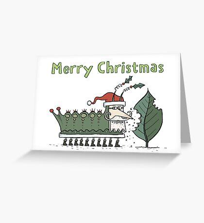 Caterpillar's Christmas Feast Greeting Card
