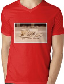 'If Tea can't fix it, it's a serious problem' typography on vintage tea cup and saucer photograph Mens V-Neck T-Shirt