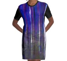 abstract  blue stripes Graphic T-Shirt Dress