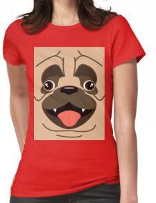 Cartoon Pug Womens Fitted T-Shirt