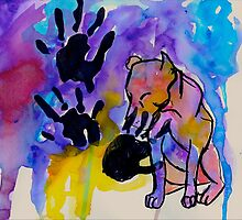 pit bull hand print by skoehl