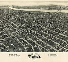 Vintage Pictorial Map of Tulsa (1918) by BravuraMedia