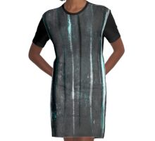 abstract  grey stripes Graphic T-Shirt Dress