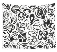 FLOWER GARDEN, floral folksy pattern, Lino cut printed nature inspired hand printed pattern Wall Tapestry