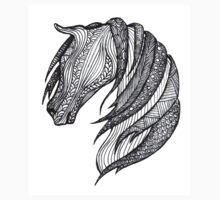 Zentangle Patterned Horse One Piece - Short Sleeve