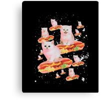Space Cat on Hot Dog T-Shirt Canvas Print