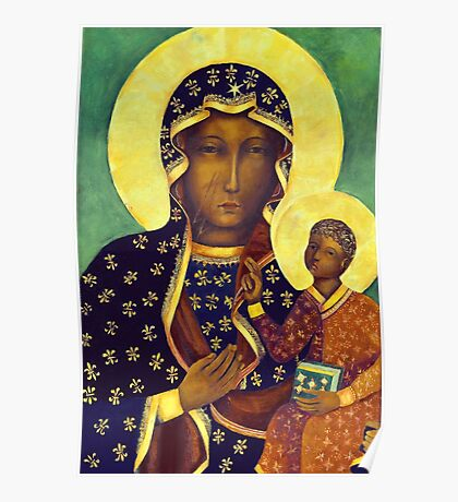 Polish Black Madonna Our Lady of Czestochowa Madonna and Child Picture Virgin Mary Painting Poster