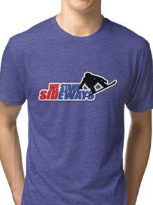 We Stand Sideways - Red, Blue, Black  Tri-blend T-Shirt