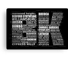 Typographic BK Brooklyn New York Canvas Print
