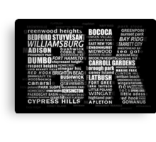 Typographic BK Brooklyn New York Canvas Print