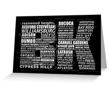 Typographic BK Brooklyn New York Greeting Card