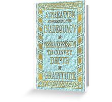 A Treatise . . .  thank you card Greeting Card