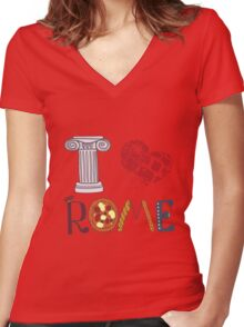 Cute letters with Roman elements pizza, pasta, column Women's Fitted V-Neck T-Shirt