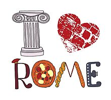 Cute letters with Roman elements pizza, pasta, column Photographic Print
