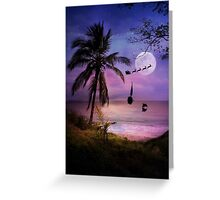 Tropical Style Christmas Holiday Santa, Sailboat and Dolphin Greeting Card