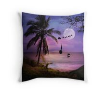 Tropical Style Christmas Holiday Santa, Sailboat and Dolphin Throw Pillow