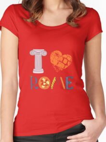 Cute letters with Roman elements pizza, pasta, column Women's Fitted Scoop T-Shirt