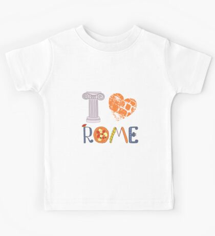Cute letters with Roman elements pizza, pasta, column Kids Tee