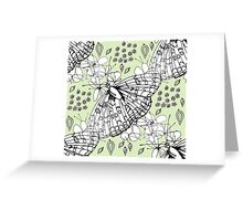 White flora and fauna Greeting Card