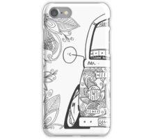 Bay Window Camper Van Zentangle Black & White iPhone Case/Skin