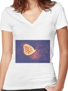 Colorful watercolor of butterfly  Women's Fitted V-Neck T-Shirt