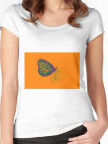 Colorful watercolor of butterfly  Women's Fitted Scoop T-Shirt