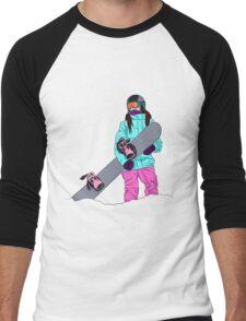 Snowboarder girl in mountain Men's Baseball ¾ T-Shirt