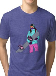 Snowboarder girl in mountain Tri-blend T-Shirt